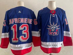 Mens Nhl New York Rangers #13 Alexis Lafrenière Light Blue 2021 Reverse Retro Alternate Adidas Jersey