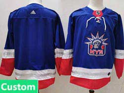 Mens Nhl New York Rangers Custom Made Light Blue 2021 Reverse Retro Alternate Adidas Jersey