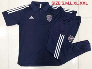 Mens 20-21 Soccer Atletico Boca Juniors Navy Polo Shirt And Navy Sweat Pants Training Suit