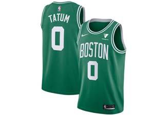 Mens 2020-21 Nba Boston Celtics #0 Jayson Tatum Green Icon Edition Vistaprint Logo Swingman Nike Jersey