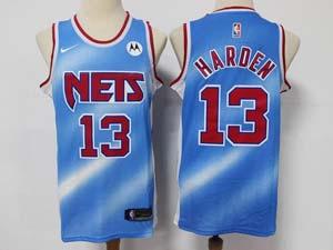 Mens Nike 2020-21 Nba Brooklyn Nets #13 James Harden Motorola Logo Blue Transfer Gradient Classic Edition Swingman Jersey
