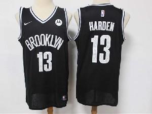 Mens Nba Brooklyn Nets #13 James Harden Black Motorola Logo Nike Swingman Jersey