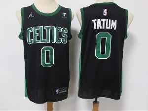 Mens 2021 Nba Boston Celtics #0 Jayson Tatum Black Vistaprint Logo City Edition Swingman Nike Jersey