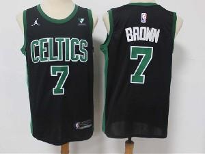 Mens 2021 Nba Boston Celtics #7 Jaylen Brown Black Vistaprint Logo City Edition Swingman Nike Jersey