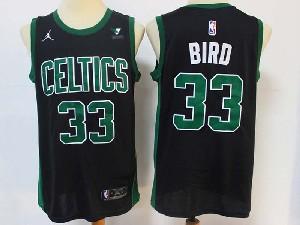 Mens 2021 Nba Boston Celtics #33 Larry Bird Black Vistaprint Logo City Edition Swingman Nike Jersey