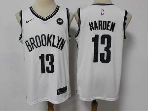 Mens Nba Brooklyn Nets #13 James Harden White Motorola Logo Nike Swingman Jersey