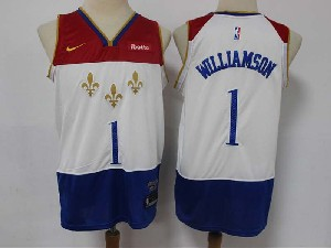 Mens New Orleans Hornets #1 Zion Williamson White 2020-21 City Edition Swingman Nike Jersey
