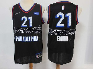 Mens Nba Philadelphia 76ers #21 Joel Embiid Black 2020-21 City Edition Nike Swingman Jersey