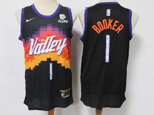 Mens Nba Phoenix Suns #1 Devin Booker Black 2020-21 City Edition Swingman Nike Jersey