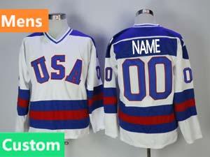 Mens Nhl Team Usa Custom Made White 1980 Year Throwbacks Ccm Jersey