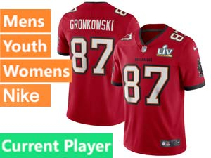 Mens Women Youth Nfl Tampa Bay Buccaneers Super Bowl Lv Bound Red Current Player Vapor Untouchable Limited Jersey