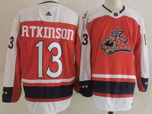 Mens Nhl Columbus Blue Jackets #13 Cam Atkinson Red 2021 Reverse Retro Alternate Adidas Jersey