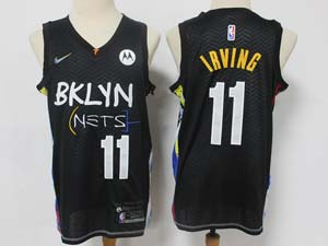 Mens 2021 Nba Brooklyn Nets #11 Kyrie Irving Black City Edition Motorola Logo Nike Swingman Jersey