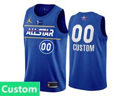 Mens Nba 2021 All Star Jordan Brand Blue Custom Made Kia Patch Jordan Brand Jersey