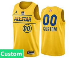 Mens Nba 2021 All Star Jordan Brand Yellow Custom Made Kia Patch Jordan Brand Jersey