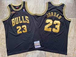 Mens Nba Chicago Bulls #23 Michael Jordan Black Gold Number Mitchell&ness Hardwood Classics Mesh Jersey Nba Finals Patch