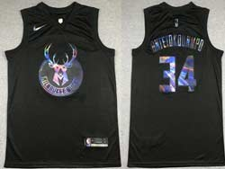 Mens 2021 Nba Milwaukee Bucks #34 Giannis Antetokounmpo Black Iridescent Holographic Limited Swingman Nike Jersey
