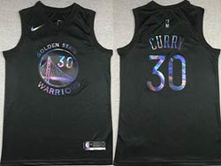 Mens 2021 Nba Golden State Warriors #30 Stephen Curry Black Iridescent Holographic Limited Swingman Nike Jersey