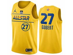 Mens 2021 All Star Nba Utah Jazz #27 Rudy Gobert Yellow Kia Patch Jordan Brand Jersey