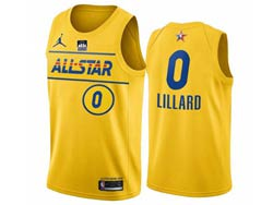 Mens 2021 All Star Nba Portland Trail Blazers #0 Damian Lillard Yellow Kia Patch Jordan Brand Jersey