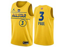 Mens 2021 All Star Nba Phoenix Suns #3 Chris Paul Yellow Kia Patch Jordan Brand Jersey