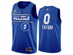 Mens 2021 All Star Nba Boston Celtics #0 Jayson Tatum Blue Kia Patch Jordan Brand Jersey