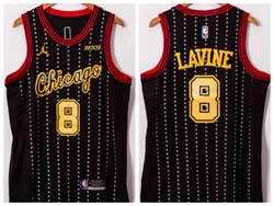 Mens 2021 Nba Chicago Bulls #8 Zach Lavine Black Yellow Number Jordan Jersey