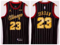 Mens 2021 Nba Chicago Bulls #23 Michael Jordan Black Yellow Number Jordan Jerseyy
