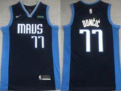 Mens 2021 Nba Dallas Mavericks #77 Luka Doncic Dark Blue Earned Edition Nike Swingman Jersey