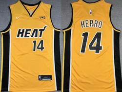 Mens 2021 Nba Miami Heat #14 Tyler Herro Yellow Earned Edition Nike Swingman Jersey