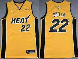Mens 2021 Nba Miami Heat #22 Jimmy Butler Yellow Earned Edition Nike Swingman Jersey
