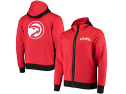 Mens Nba Atlanta Hawks Red Training Clothes Hoodie Jersey With Pocket