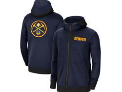 Mens Nba Denver Nuggets Blue Training Clothes Hoodie Jersey With Pocket