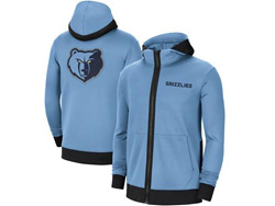 Mens Nba Memphis Grizzlies Blue Training Clothes Hoodie Jersey With Pocket