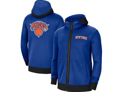 Mens Nba New York Knicks Blue Training Clothes Hoodie Jersey With Pocket