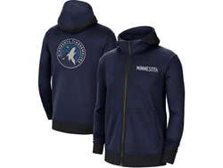 Mens Nba Minnesota Timberwolves Blue Training Clothes Hoodie Jersey With Pocket