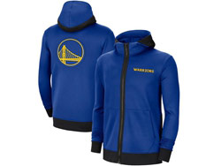 Mens Nba Golden State Warriors Blue Training Clothes Hoodie Jersey With Pocket