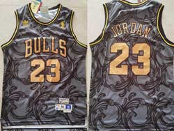 Mens Nba Chicago Bulls #23 Michael Jordan Black Gold Mitchell&ness Hardwood Classics Adidas Jersey