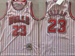 Mens Nba Chicago Bulls #23 Michael Jordan White Red Stripe Mitchell&ness Hardwood Classics Jersey