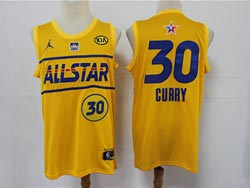 Mens 2021 All Star Nba Golden State Warriors #30 Stephen Curry Yellow Kia Patch Jordan Brand Jersey