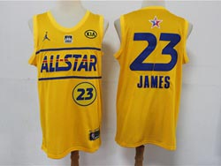 Mens 2021 All Star Nba Los Angeles Lakers #23 Lebron James Yellow Kia Patch Jordan Brand Jersey