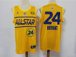 Mens 2021 All Star Nba Los Angeles Lakers #24 Kobe Bryant Yellow Kia Patch Jordan Brand Jersey