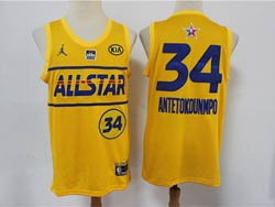 Mens 2021 All Star Nba Milwaukee Bucks #34 Giannis Antetokounmpo Yellow Kia Patch Jordan Brand Jersey