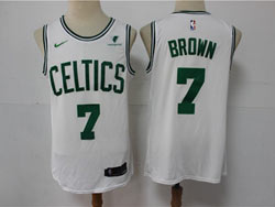 Mens 2021 Nba Boston Celtics #7 Jaylen Brown White Vistaprint Logo City Edition Swingman Nike Jersey