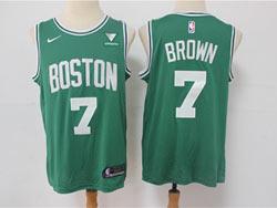 Mens 2021 Nba Boston Celtics #7 Jaylen Brown Green Vistaprint Logo City Edition Swingman Nike Jersey