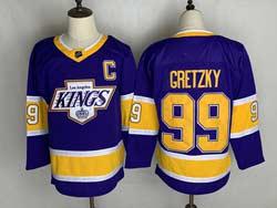 Mens Nhl Los Angeles Kings #99 Wayne Gretzky Purple 2021 Reverse Retro Alternate Adidas Jersey With C Patch