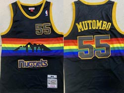 Mens Nba Denver Nuggets #55 Dikembe Mutombo Black 1991-92 Mitchell&ness Hardwood Classics Mesh Jersey