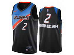 Mens 2021 Nba Oklahoma City Thunder #2 Shai Gilgeous-alexander Black City Edition Nike Swingman Jersey
