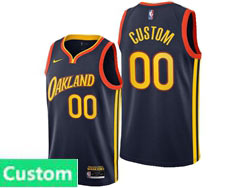 Mens Womens Youth 2021 Nba Golden State Warriors Custom Made Dark Blue City Edition Nike Swingman Jersey