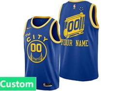 Mens Womens Youth 2021 Nba Golden State Warriors Custom Made Blue Hardwood Classics Nike Swingman Jersey